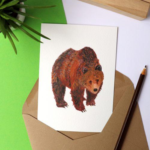 Kaart met illustratie beer gemaakt door Friedolien