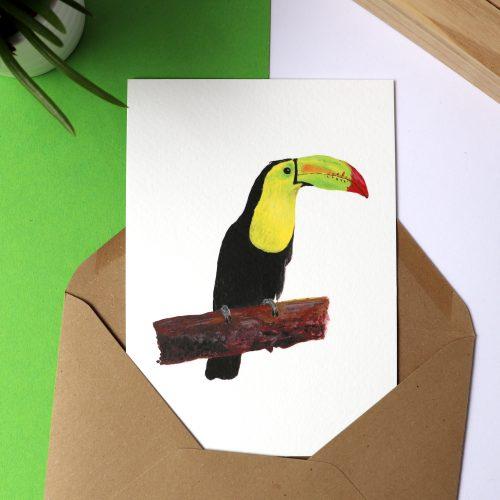 Kaart met illustratie van een toekan gemaakt door Friedolien