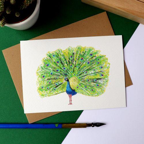 Kaart met illustratie van een pauw gemaakt door Friedolien