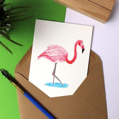 Kaart met illustratie flamingo gemaakt door Friedolien