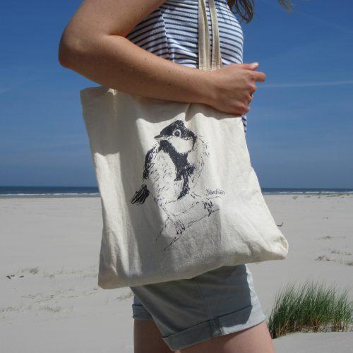 Katoenen tas met illustratie koolmeesje gemaakt door Friedolien