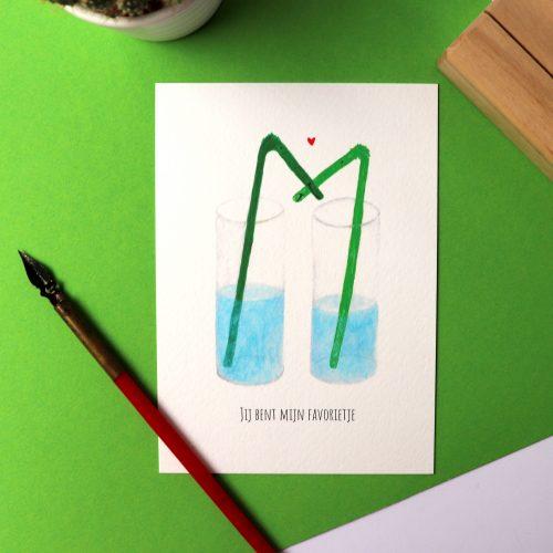 Kaart met illustratie van twee rietjes in een glas met de tekst: jij bent mijn favorietje