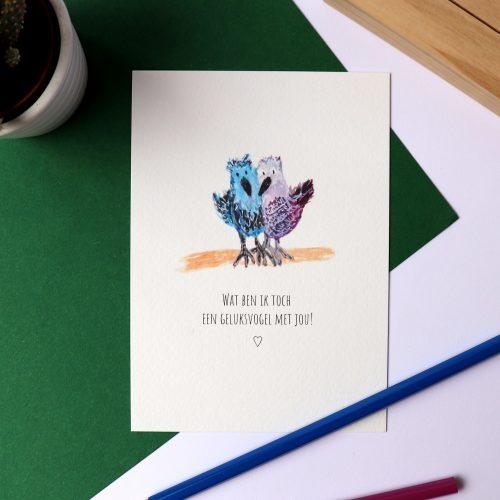 """Kaart met twee vogeltjes en de tekst """"wat ben ik toch een geluksvogel met jou"""""""