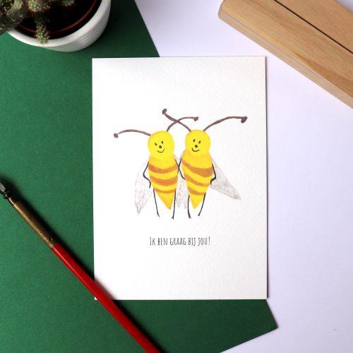Kaart met illustratie van twee bijen gemaakt door Friedolien