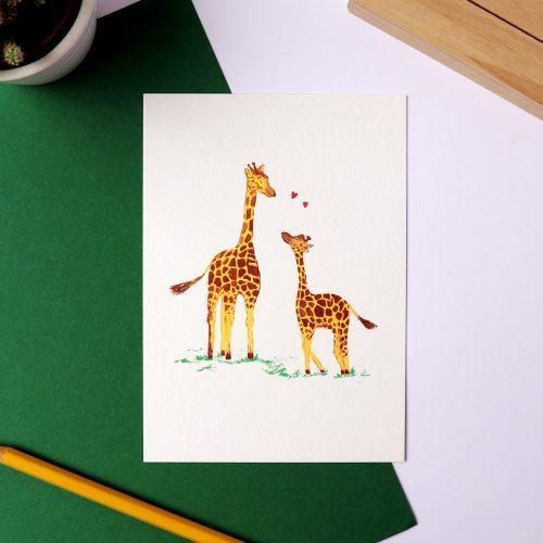 Kaart met illustratie giraffes gemaakt door Friedolien