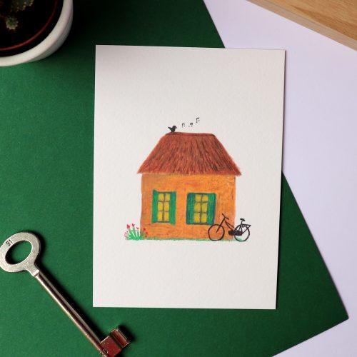 Kaart met illustratie van een knus huisje gemaakt door Friedolien
