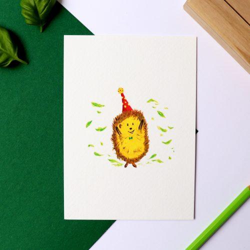 Kaart met illustratie verjaardag egeltje, gemaakt door Friedolien